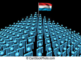 Pyramid of abstract people with Luxembourg flag illustration