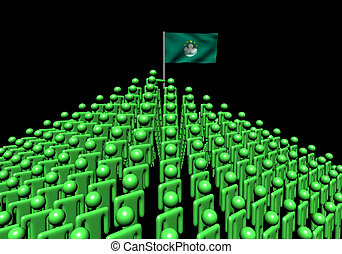 Pyramid of abstract people with Macau flag illustration