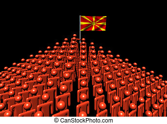 Pyramid of abstract people with Macedonia flag illustration