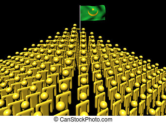 Pyramid of abstract people with Mauritania flag illustration