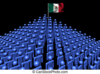 Pyramid of abstract people with Mexican flag illustration