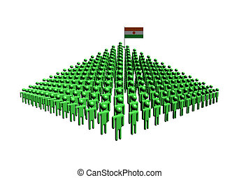Pyramid of abstract people with Niger flag illustration