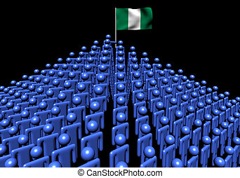 Pyramid of abstract people with Nigerian flag illustration