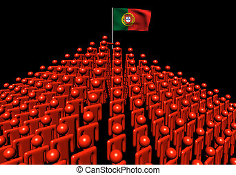 Pyramid of abstract people with Portugal flag illustration