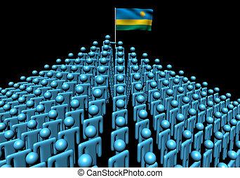 Pyramid of abstract people with Rwanda flag illustration