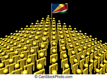 Pyramid of abstract people with Seychelles flag illustration
