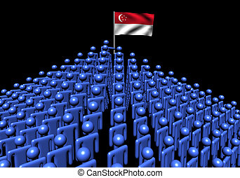 Pyramid of abstract people with Singapore flag illustration