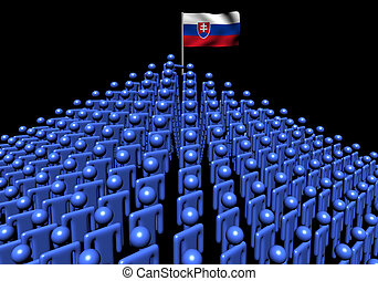 Pyramid of abstract people with Slovakia flag illustration