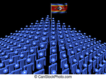 Pyramid of abstract people with Swaziland flag illustration