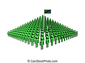 Pyramid of abstract people with Tanzania flag illustration