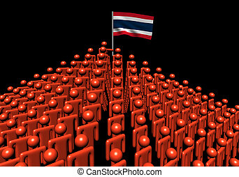 Pyramid of abstract people with Thai flag illustration