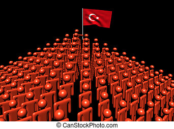 Pyramid of abstract people with Turkish flag illustration