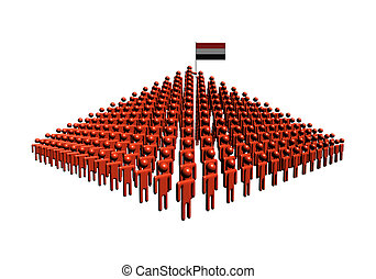 Pyramid of abstract people with Yemen flag illustration