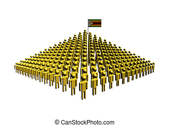 Pyramid of abstract people with Zimbabwe flag illustration