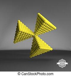 Pyramid of balls. 3d vector abstract illustration.