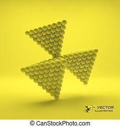 Pyramid of balls. 3d vector illustration.