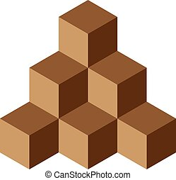 Pyramid of brown chocolate cubes. 3D vector illustration isolated on white background