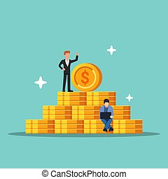 Pyramid of coins. Concept of success and augmentation of money. Little people on the background of the dollar. Flat vector illustration isolated.