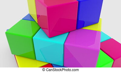 Pyramid of colorful cubes