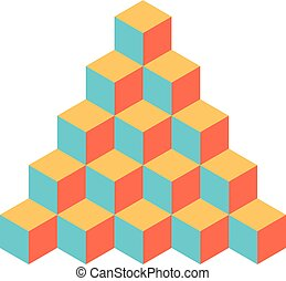 Pyramid of cubes. 3D vector illustration isolated on white background