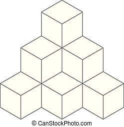 Pyramid of cubes. Flat vector outline illustration isolated...
