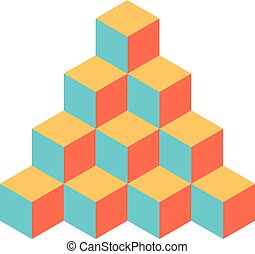 Pyramid of cubes in retro colors. 3D vector illustration...
