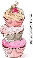 Pyramid of cupcakes elegance design