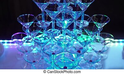 Pyramid of glasses on party