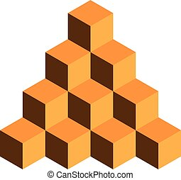 Pyramid of gold cubes. 3D vector illustration isolated on white background
