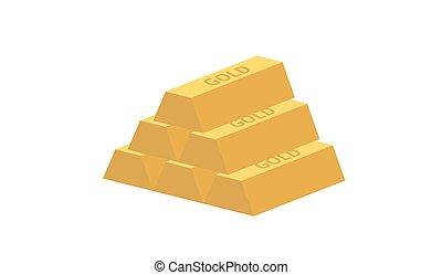 pyramid of gold ingots - Pyramid of five gold ingots...