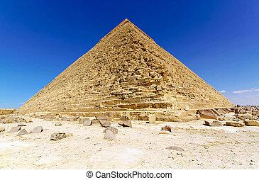 Pyramid of Kharfe - Pyramid of Khafre in Egypt at sunny day...