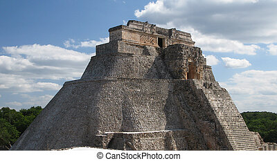 Pyramid of Magician in the old city Uxmal Mexico