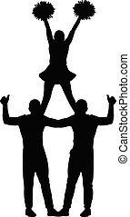 Pyramid of people (cheerleaders, men and girl) silhouette isolated, vector illustration