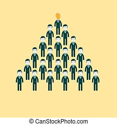 pyramid of people working in the commando, vector illustration