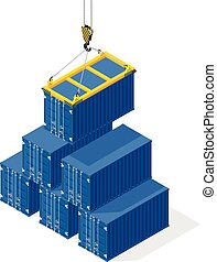 Pyramid of sea containers. The top container lowered the crane