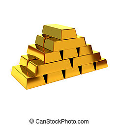 Pyramid of shiny gold bars on a white background. 3D illustration, render. Concept of financial success and prosperity.