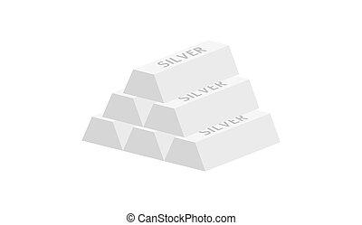 pyramid of silver ingots - Pyramid of five silver ingots...