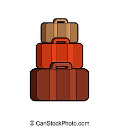 Pyramid of suitcases. Many bag isolated. Vector illustration