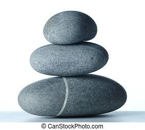 three stones - Pyramid of three stones over white -2