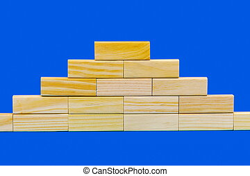 Pyramid of wooden blocks