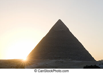 Pyramid on a sunset - The sunset and pyramid