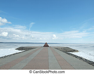 Pyramid on coast of lake