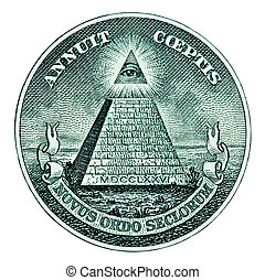 Pyramid on One Dollar Bill - Dollar pyramid on white...