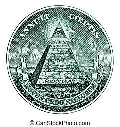 Pyramid on One Dollar Bill - Dollar pyramid on white...
