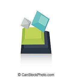 pyramid parts   green blue gray color