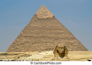 Pyramid and Sphinx at Giseh, Cairo, Egypt