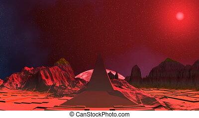 Pyramid, pink moon and UFO