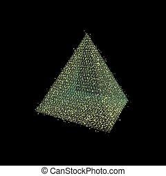 Pyramide. Tétraèdre commun. Platoniquement solide. 3d vecteur ...