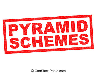 PYRAMID SCHEME red Rubber Stamp over a white background.