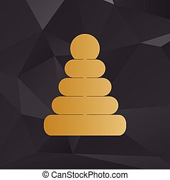 Pyramid sign illustration. Golden style on background with polygons.